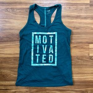 """Motivated"" Teal Racerback Danskin Active Tank"